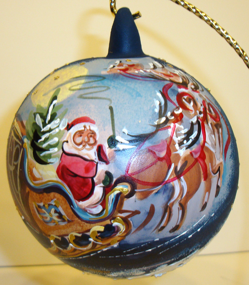 ... Austrian Ornament, Hand Painted Santa and Sleigh Ornament - Christmas Glass German American Polish Pewter Ornaments Decorations
